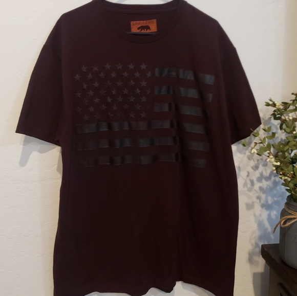 Ring of Fire Other - Mens Red shirt with American Flag